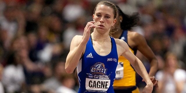 12 MAR 2011: Shannon Gagne of New Haven competes in the women's 400 meter dash during the Division II Men's and Women's Indoor Track and Field Championship held at the Albuquerque Convention Center in Albuquerque, NM. Gagne finished in first place with a time of 55.19. Mark Holm/ NCAA Photos via Getty Images