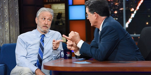 The Late Show with Stephen Colbert and guest Jon Stewart during Monday's June 14, 2021 show. Photo: Scott Kowalchyk/CBS ©2021 CBS Broadcasting Inc. All Rights Reserved.