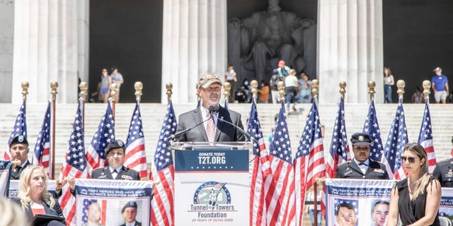 Tunnel to Towers Foundation CEO Frank Siller speaks on the steps of the Lincoln Memorial in Washington, D.C., on June 17, 2021. Tunnel to Towers announced a ceremony to commemorate fallen service members in the War on Terror, whose names will be read on Veteran's Day in the same location.