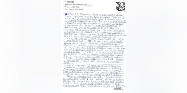 Trevor Reed escribió a su familia una carta en ruso con fecha del 7 de junio desde la detención rusa.