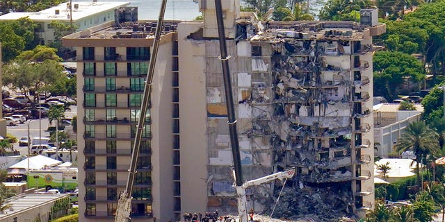 An oceanfront condo building that partially collapsed, resulting in fatalities and many people still unaccounted for, is seen in Surfside, Florida, June 27, 2021. (Associated Press)
