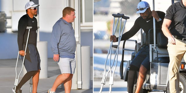 Woods was seen wearing a compression stocking around his right leg.  (Image directly / BACKGRID USA)
