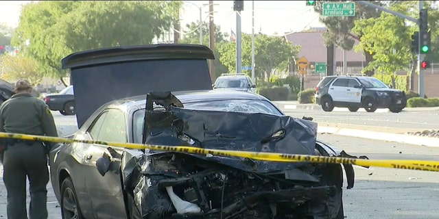 The Dodge Challenger car seen after the hit-and-run collision early Wednesday in Palmdale, Calif.