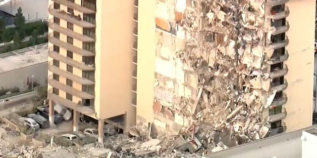 The scene of a collapsed building in Surfside, Fla., just north of Miami Beach.