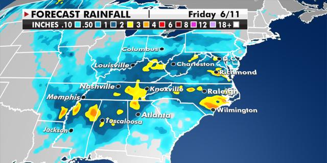 Expected rainfall through Friday. (Fox News)
