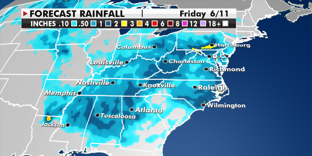 Expected rainfall totals through Friday. (Fox News)