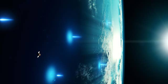 Artist's impression of X-rays from the gamma-ray burst entering Earth's atmosphere.