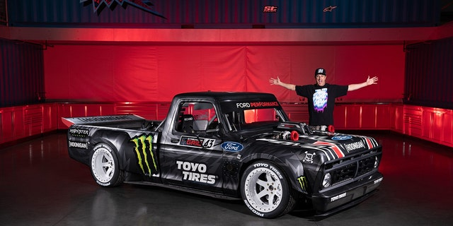 Ken Block's Hoonicorn combines the body of a 1977 Ford F-150 with a tube frame racing chassis.
