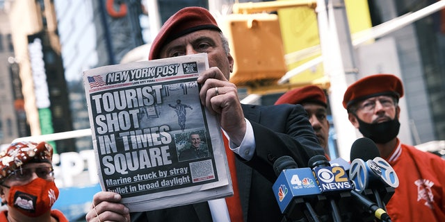 Sliva talks to the media in Times Square after shooting for another day in the popular tourist destination on June 28, 2021 in New York City.  Sliva and Democrat Eric Adams are both running on a