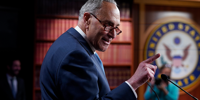 Senate Majority Leader Chuck Schumer, D-N.Y., speaks to reporters after final votes going into the Memorial Day recess, at the Capitol in Washington, Friday, May 28, 2021. Schumer is meeting Wednesday with Senate Budget Committee Democrats to discus budget reconciliation. (AP Photo/J. Scott Applewhite)