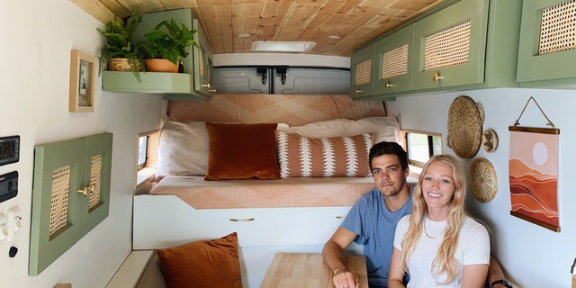 After the coronavirus pandemic canceled their wedding last year, Ben and Malory Landheer decided to quit their jobs and leave Charlotte, North Carolina, to travel around the country in a renovated van. (SWNS)