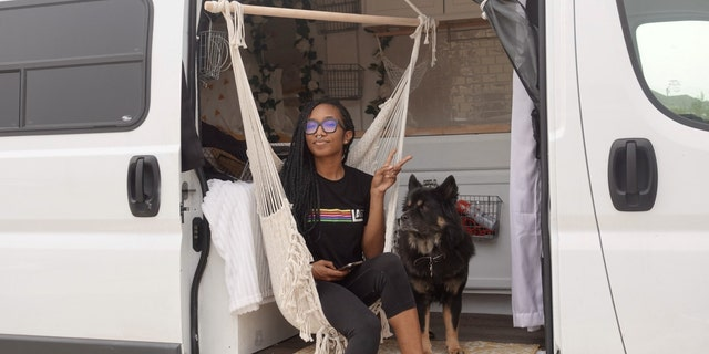 Wilson and her dog Ice have been living in the van that Wilson renovated herself since Dec. 1, 2020.