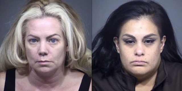 Mary Garcia, left, and Melinda Rodriguez were arrested by Mesa Police on June 17 for allegedly using an in-store app to steal products from Walmart stores inArizona, California, Utah, Colorado and Texas. (Mesa Police Department)