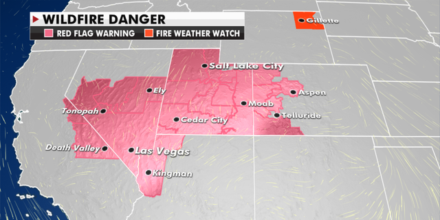 The current risk of wildfires in the West. (Fox News)