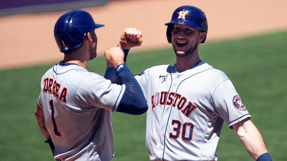 Brantley has 4 of Astros' 20 hits in 14-3 rout of Twins
