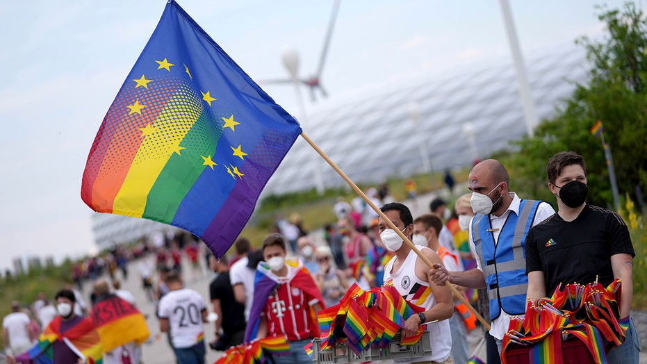 Fan invades Euro 2020 match holding rainbow flag ahead of Germany-Hungary start