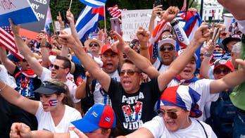 Republicans march with protesters for Cuban freedom as they pushed Biden for more support