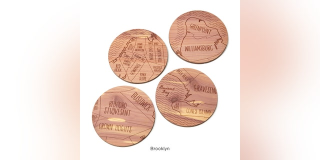 Each set of four coasters tips their hats to various cities across the country including Manhattan, Brooklyn, Chicago, Boston, Austin, Phoenix, Los Angeles, San Francisco, New Orleans, and more.