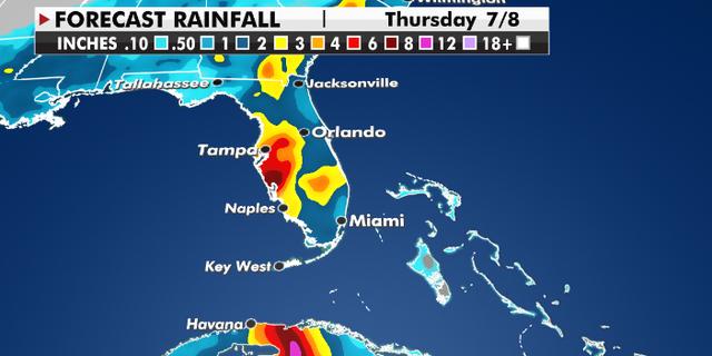 Expected rainfall totals through Thursday. (Fox News)