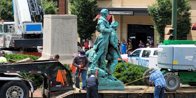 The statue of Lewis & Clark and Sacagawea being hauled away in Charlottesville, Virginia on July 10, 2021 (City of Charlottesville)