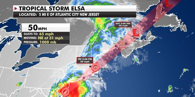The current track of Tropical Storm Elsa. (Fox News)
