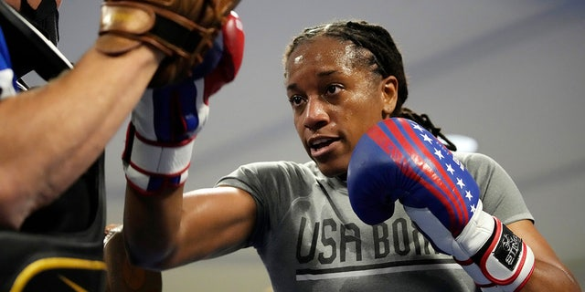 USA Boxing team member Naomi Graham takes part in drills during a media day for the team in Colorado Spring, Colo., Monday, June 7, 2021. With Claressa Shields on to her pro careers in boxing and mixed martial arts, the U.S. team needed a replacement at the weight class Shields has dominated ever since women were allowed to fight at the Olympics nine years ago. USA Boxing found a soldier. (AP Photo/David Zalubowski, File)