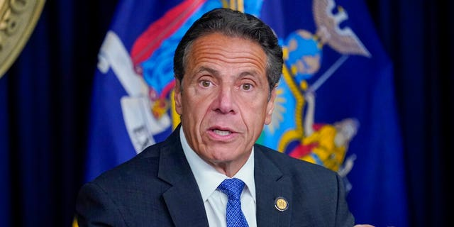 New York Gov. Andrew Cuomo speaks during a news conference, Wednesday, June 23, 2021, in New York. Cuomo's campaign contributors say they're still planning to donate money for his reelection, despite ongoing investigations into allegations that he sexually harassed employees and manipulated data on COVID-19 fatalities in nursing homes. (AP Photo/Mary Altaffer)