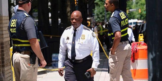 Atlanta Police Chief Rodney Bryant arrives at the scene of a shooting, Wednesday, June 30, 2021, in Atlanta. (Ben Gray/Atlanta Journal-Constitution via AP)
