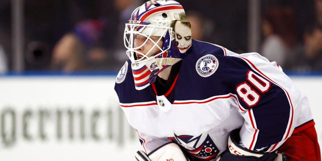 Columbus Blue Jackets goaltender Matiss Kivlenieks (80) is shown during the second period of an NHL hockey game in New York, in this Sunday, Jan. 19, 2020, file photo.