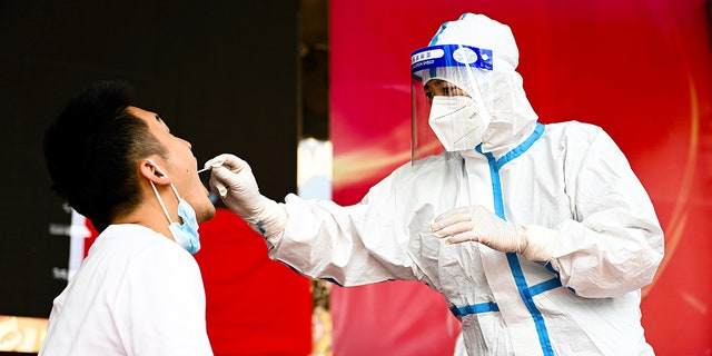 In this photo released by Xinhua News Agency, a medical worker collects a swab sample for nucleic acid test in Ruili City of southwest China's Yunnan Province, on July 5, 2021. (Wang Guansen/Xinhua via AP)