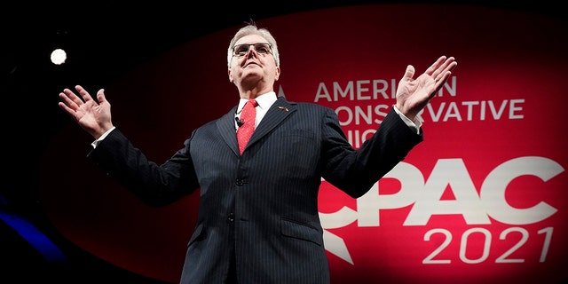 Texas Lt. Gov. Dan Patrick speaks during opening general session of the Conservative Political Action Conference (CPAC) Friday, July 9, 2021, in Dallas. (AP Photo/LM Otero)