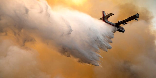 A scoop plane drops water onto a burning ridge where a fire line had been created by crews of wildland firefighters, Monday, July 12, 2021, at the Lick Creek Fire, south of Asotin, Wash. (Pete Caster/Lewiston Tribune via AP)