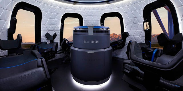 This undated photo made available by Blue Origin shows the interior of the crew capsule. When Blue Origin launches people into space for the first time, Jeff Bezos will be on board. No test pilots or flight engineers for the Tuesday, July 20, 2021, debut flight from West Texas - just Bezos, his brother, an 82-year-old aviation pioneer and a teenager. (Michael Craft/Blue Origin via AP)