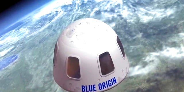 This undated image provided by Blue Origin shows an illustration of the capsule that will be used to take tourists into space. (Blue Origin via AP)