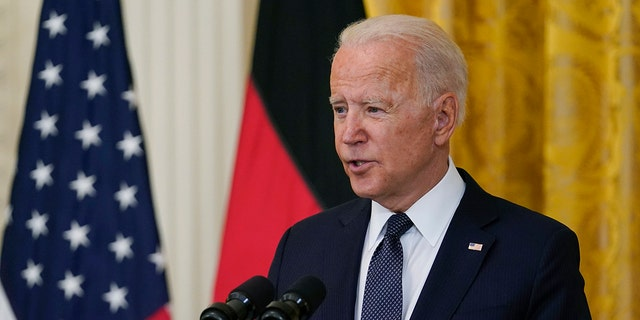 President Joe Biden speaks during a news conference with German Chancellor Angela Merkel in the East Room of the White House in Washington, Thursday, July 15, 2021. (Associated Press)