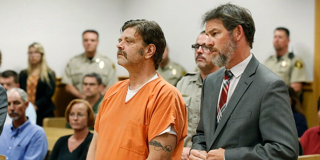Defendant Mark Redwine and his lawyer are seen in district court in Durango, Colorado, Aug. 15, 2017. (Associated Press)