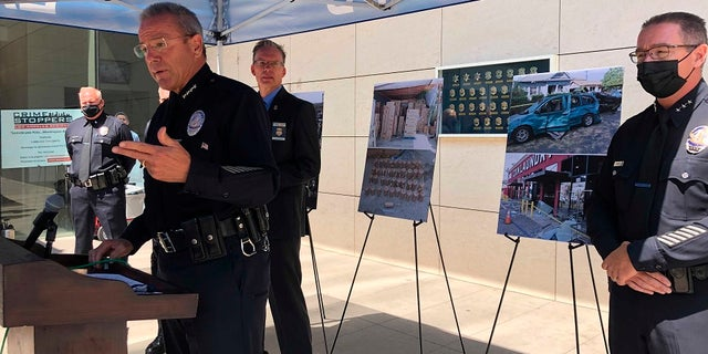 Los Angeles Police Chief Michel Moore speaks at a press conference in Los Angeles on Monday.  Moore said bomb technicians overloaded a detonation truck with homemade fireworks last month, triggering a catastrophic explosion that left 17 people injured.  (AP Photo/Stefanie Dazio)