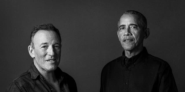 This image provided by Rob DeMartin shows podcast co-hosts Bruce Springsteen and former President Barack Obama. (Associated Press)