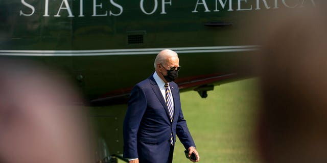 President Joe Biden arrives back at the White House in Washington, Wednesday, July 28, 2021, after traveling to Lower Macungie Township, Pa., to highlight American manufacturing. (AP Photo/Andrew Harnik)