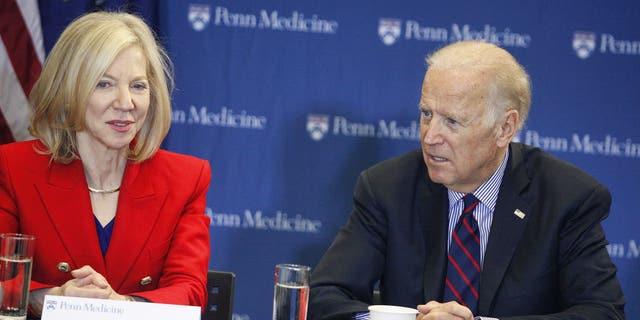 PHILADELPHIA, PA - JANUARY 15 :  Vice President Joe Biden pictured alongside Dr. Amy Gutmann to launch a moonshot initiative to hasten a cure for cancer at the Penn Medicine's Abramson Cancer Center  in Philadelphia, Pa., on Jan. 15, 2016 (Star Shooter/MediaPunch/IPX)