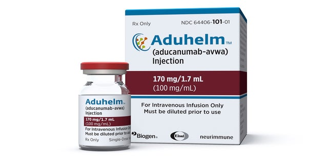 FILE - This image provided by Biogen on Monday, June 7, 2021 shows a vial and packaging for the drug Aduhelm. (Biogen via AP, File)