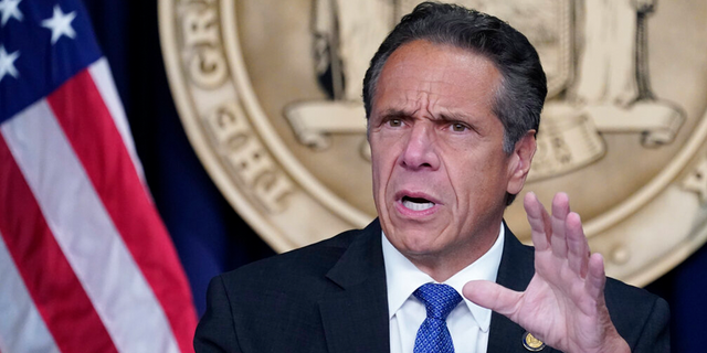 New York Gov. Andrew Cuomo speaks during a news conference, in New York.
