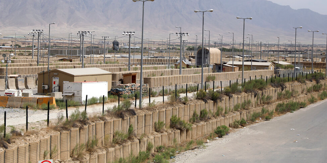 Blast wallls and a few buildings can be seen at the Bagram air base after the American military left the base, in Parwan province north of Kabul, Afghanistan, Monday, July 5, 2021.