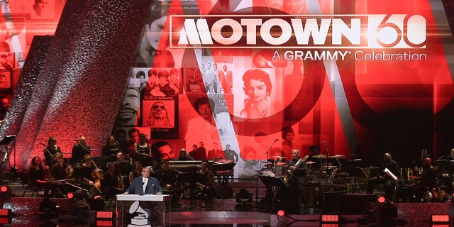 Berry Gordy speaks on stage during Motown 60: A Grammy Celebration at the Microsoft Theater in Los Angeles in February 2019.  (Shotwell/InVision/AP)