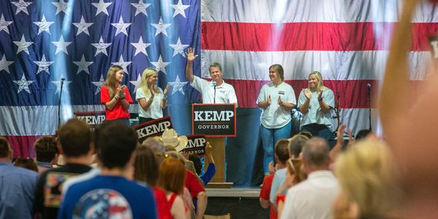 공화당 정부. Brian Kemp of Georgia formally launches his 2022 reelection campaign at a kick off event in Perry, 그루지야, 칠월 10, 2021