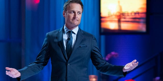 Chris Harrison on stage during 'The Bachelor' season finale in 2019.