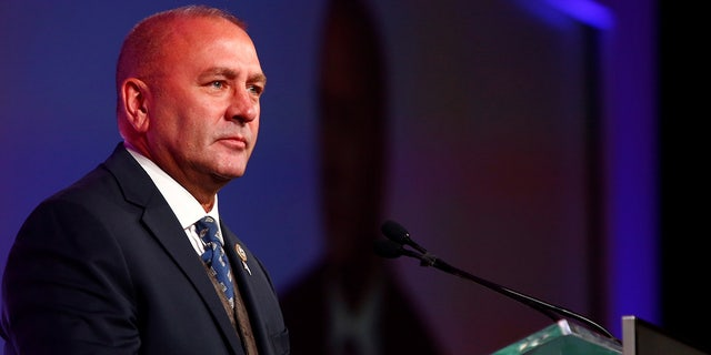Rep. Clay Higgins, 3rd District, Louisiana, speaks during the America First Energy Conference 2018 in New Orleans, Louisiana, Aug. 7, 2018. REUTERS/Edmund D. Fountain