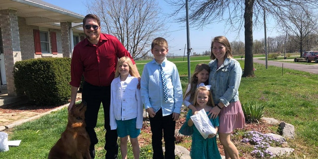 """Coultas told Fox he doesn't think """"there was anything special"""" about donating a kidney, instead saying: """"It's part of basic Christian responsibility and duty to love."""" Coultas is pictured with his family."""