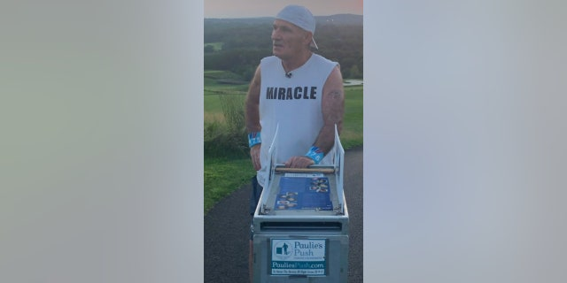 """Paul """"Paulie"""" Veneto, 62, will be pushing a beverage cart from Boston's Logan International Airport to Ground Zero in New York City to honor the flight attendants and crew members who died in the September 11 attacks 20 years ago."""