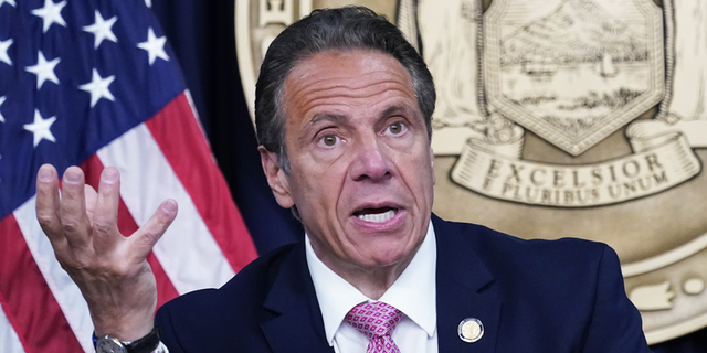New York Gov. Andrew Cuomo speaks during a news conference on May 10, 2021 in New York City. (Photo by Mary Altaffer-Pool/Getty Images)